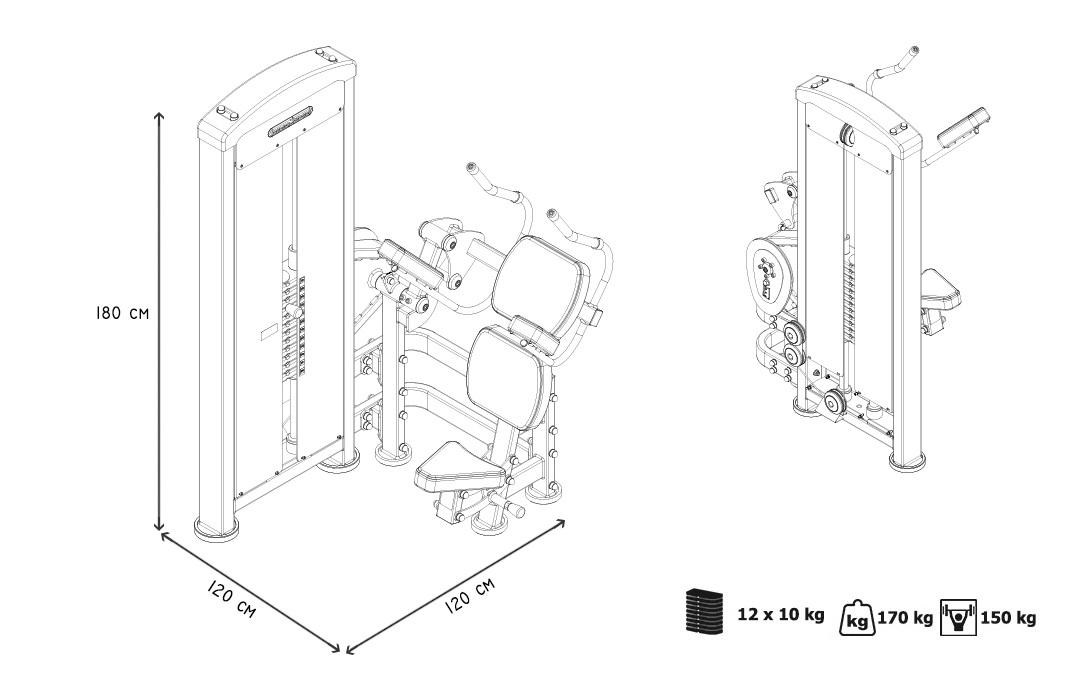 maquina de abdominales dkn mpu223-5